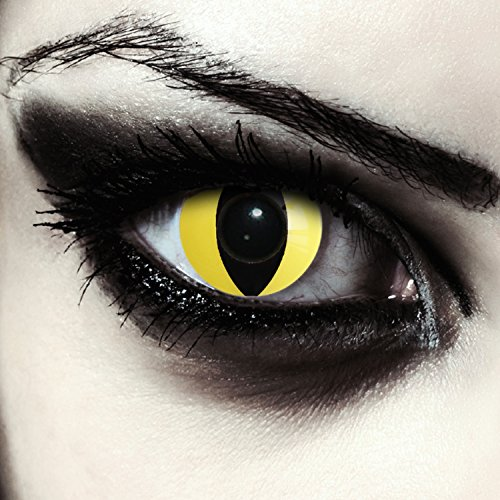 Gelbe farbige Katzen Kontaktlinsen für Halloween Design: Yellow Cateye + gratis Kontaktlinsenbehälter (innerhalb Dt.)