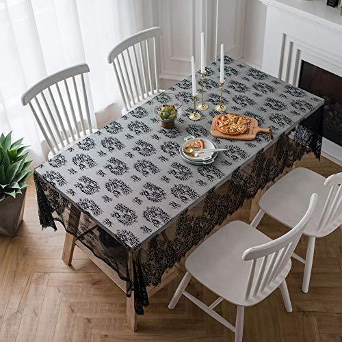 TWTIQ Tischdecke Spitze Tischdecken Antifouling Pflegeleicht Küchentischdekoration Schwarz Staubschutz 145 * 300 (Wie Man Den Marvel-weg)