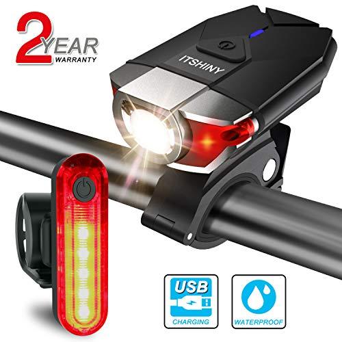 ITSHINY Ensemble d'éclairage de vélo, Kit lumière de vélo USB Rechargeable (Noir)