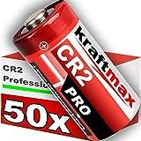 kraftmax 50er Pack CR2 Lithium Hochleistungs- Batterie für professionelle Anwendungen Generation