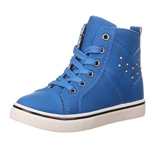 Kinder Schuhe für Jungen und Mädchen, K-07, FREIZEITSCHUHE Blau (31-36)