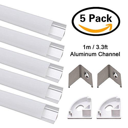 LED Aluminium Profil, Jirvyuk Led Aluminium Leisten 5 Pack 1M/ 3.3ft V-Form Aluminium Extrusion Milchig Deckel Endkappen Metall Befestigungs Clips (Silber-V) (Starre Led-licht Bar)