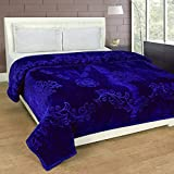 #4: SRS Blue Floral Double Bed Mink Blanket with Complimentary Stylish Bag
