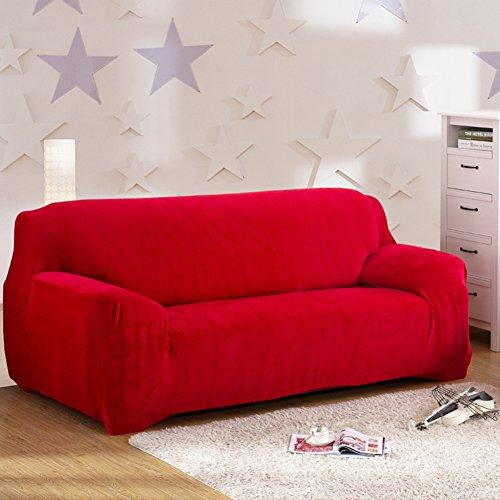 Anti-scivolo fodera elastica,peluche copridivano elasticizzato,più spessa surefit stretch mobili protector per 1 2 3 4 cuscini divano cane divano in pelle macchia-resistente coperture per divani-rosso ottomano