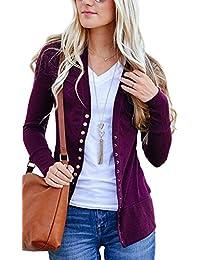 Aswinfon Gilet Femme Hiver Manche Longue Tricot Cardigans Pull Casual Col V  Boutons Veste Chic 8d9fa6315d29