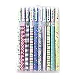 GerTong Penne a sfera con gel colorato, confezione da 10, colori assortiti, graziose penne pastello per scuola, ufficio e libro da colorare per adulti 15.6cm x 10.5 cmx 1.6 cm 1