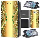 Samsung Galaxy S6 G920 Hülle von CoverHeld Premium Flipcover Schutzhülle S6 G920 aus Kunstleder Flip Case Motiv (1376 Abstract Smaragd Grün Gold Farben)