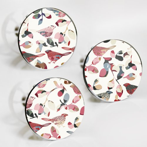 StöpselSpaß Aufkleber für Waschbeckenstöpsel - Motiv: bunte Vögel - 3 Stück im Set