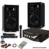 etc-shop PA Party Musik Karaoke Anlage Boxen Funk Mikrofon Verstärker USB MP3 SD Bluetooth DJ-Future 2