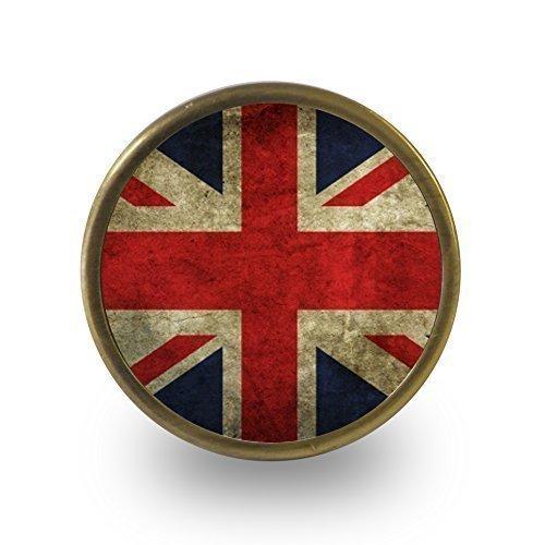 Pushka Home Türknauf Vintage Union Jack Britische Flagge, 40mm, mit Griff, 1Stück. Geeignet für: 21mm, im Vintage-Stil, mit Acryl-Look, Vintage, aus Metall, mit Fuß aus und -