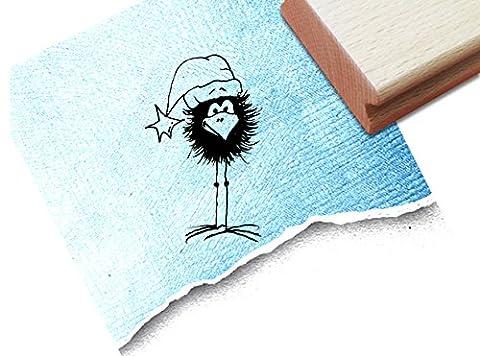 Stempel - x17b 1 - Motivstempel Bildstempel - Kleiner Rabe als Weihnachtsmann für Scrapbook , Artjournal , Einladungen und mehr