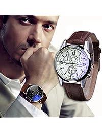 Meily Moda de lujo de imitación de cuero para hombre Blue Ray Vidrio Relojes analógicos de cuarzo