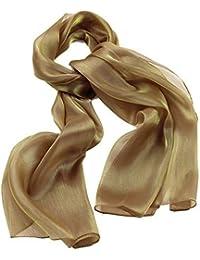 0837f770a860c Écharpe en soie pour femme avec écharpe Aspect brillant Rouge doré bleu gris