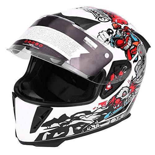 EBTOOLS Casco integrale di sicurezza per motociclisti con lenti doppie, Modello di pagliaccio bianco(M)