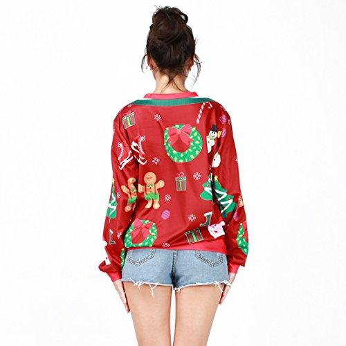 Jiayiqi Femme Nouveauté Noël Imprimé Pull Sweatshirt Une Taille Faux deux morceaux