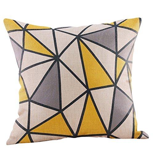 Funda de almohada cuadrada, 45 x 45 cm, funda de almohada mostaza amarillo geométrico otoño funda de cojín, decorativa, fundas de almohada, ...