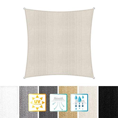 Lumaland toldo vela de sombra 100% polietileno de alta densidad filtro UV incl cuerdas nylon 3x3 crema