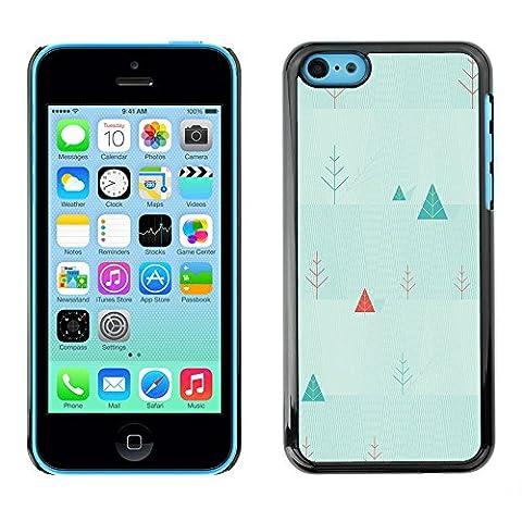 Qstar Kunst & Design Hartplastik Handy-Schutzhülle Schale Hülle Case Cover für Apple iPhone 5C ( Triangle Picea Christmas Tree Wallpaper