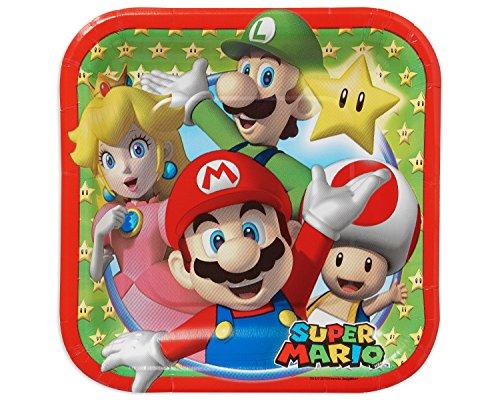 amscan 541554Quadratische Pappteller, Super Mario, 18 cm