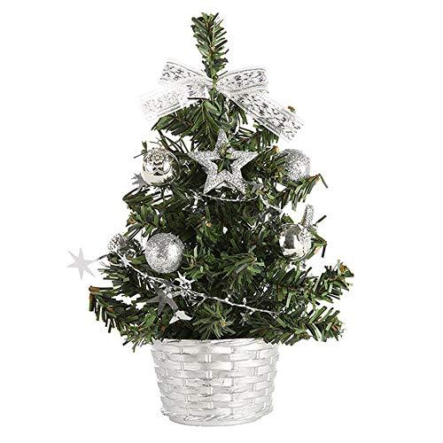 MuSheng Künstlicher Weihnachtsbaum mit Weihnachtsdeko Mini Home Office Weiss Cedar Mit Schnee Effekt Christbaum (Silber, 20cm)