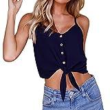 OverDose Damen Sommer Casual Weste Tops Vest Frauen Knopf Ärmellos Crop Top Weste Tank Shirt Bluse Oberteile V-Ausschnitt T Shirt (Blue,EU-36/CN-S)