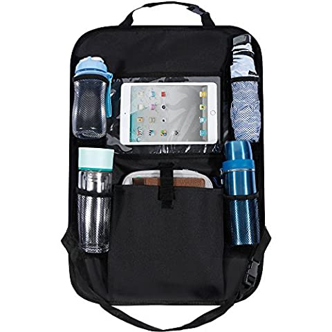 Rovtop Car Back Seat Organiser with Tablet Holder, Kick Mat, Multi-pocket Travel Storage for Umbrella, Water Bottle, Maps, Pens, Office