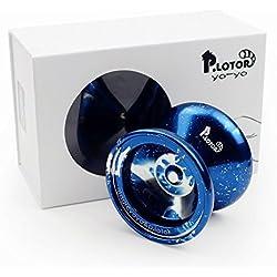 Yoyo, P.LOTOR Aleación de Aluminio Profesional del Yoyós de la Bola con el Paquete de Regalo de la Navidad Para los Niños (Azul con Salpicaduras)