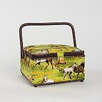 Mehrfarbig Prym Vintage Stil und Sechseck Form N/ähkorb mit Natural Korbflechterei Trim Baumwoll-Mischgewebe gro/ß