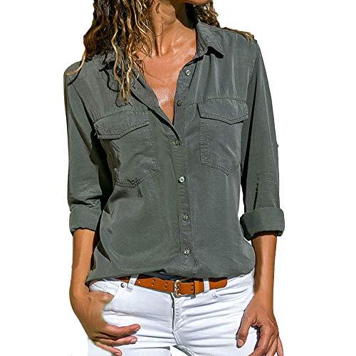 NEEKY Damen Freizeit Schlank Blusen - Frauen Lässig Langarm Button Front Shirt Umlegekragen Oberteile mit Taschen(EU:44/3XL, Armeegrün) -