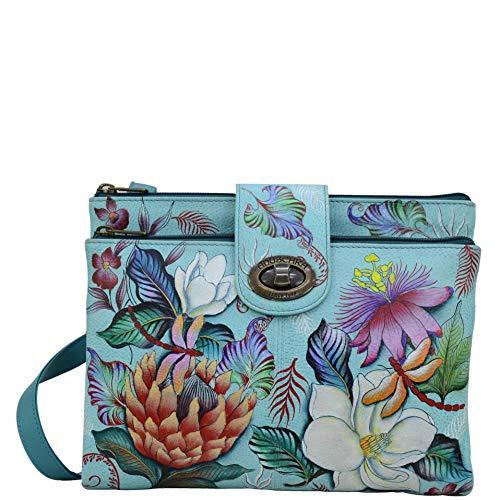 Anuschka Damen Handgemalte Leder, Doppel Zip Zweikammer Wallet/Kupplung, einheitsgröße Jardin bleu (One Wallet In Clutch All)
