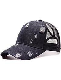 iBaste Moda Unisexo Vaquero Agujero roto Gorra de Béisbol Malla Vintage  Ponycap Moño Alto Desordenado Sombrero 99b368b7b04