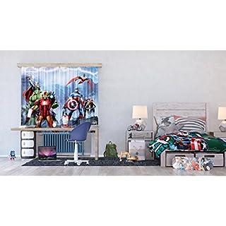 AG Design - Gardine – Vorhang – Fotogardine - Kinderzimmer Avengers Marvel - 180 x 160 cm – 2 Teile - FCS XL 4328