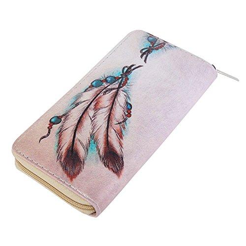 DonDon Damen Geldbeutel Muster Federn und Perlen beige rosa (Muster Perlen-geldbörse)