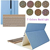 kvago lega di alluminio plastica rigida tastiera wireless Bluetooth tastiera custodia per Apple iPad Air 2 (6th generazione) Custodia Smart Cover con 7 colori Retroilluminazione Tastiera ultra sottile e leggero Custodia iPad Air 2 Backlit Keyboard Case - Blue