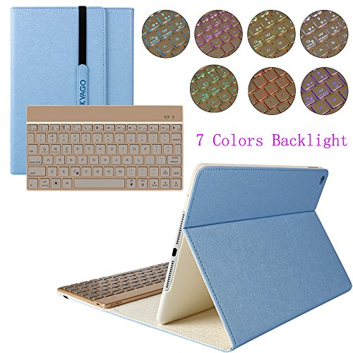 kvago iPad Air Custodia Cover tastiera retroilluminata + HD Protezione Schermo e Pennino in alluminio finitura plastica rigida tastiera wireless Bluetooth Custodia Smart Cover per Apple iPad Air Custodia con tastiera 7 colori Retroilluminazione chiavi Blu Detachable Keyboard Case Fashion Style - Blue