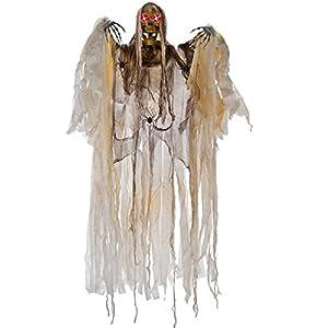 Carnival 08455-Esqueleto de colgar con túnicas/arañas/Ojos luminati, altura 160cm, Batería no incluida