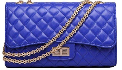 HandBagCrave - Borsetta senza manici Ragazza donna Blue - Gold Chain