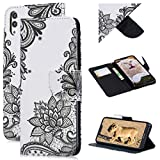 Beaulife for Huawei Honor 8C Case Wallet PU Leather Flip Case Paint Book Style Magnetic Clasp Kickstand Folio Shell Card Slot Protective Bumper Case for Huawei Honor 8C, Black Pattern