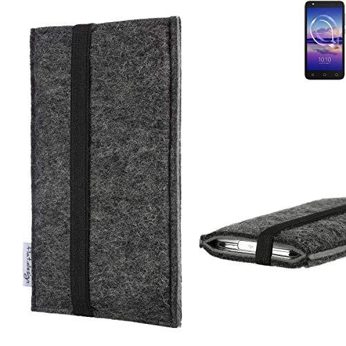 flat.design Handyhülle Lagoa für Alcatel U5 HD Single SIM | Farbe: anthrazit/grau | Smartphone-Tasche aus Filz | Handy Schutzhülle| Handytasche Made in Germany