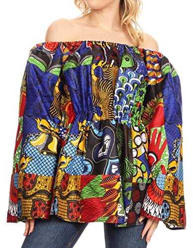 Sakkas 2230 - Mela Damen Langarm - Schößchen ohne Schulterbluse aus afrikanischem Ankara - 144-Multi - OS (Formale Schößchen Bluse)