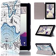 Amazon Kindle Cover, Transer® Para Amazon Kindle Fire 7 2015 Funda de cuero Folio cubierta de la cubierta (Azul)