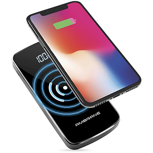 Ambrane PW-11 10000mAh Wireless Lithium Polymer Power Bank with Fast Qi Wireless Charging for iPhone X/8/8 Plus, Samsung S9 & Other Qi Enabled Devices (Black)