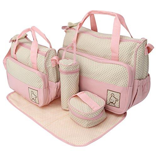 Iris Pink Print Large Multi-Purpose Diaper Bag with Matching Changing Mat - 5 Piece Set (Mommy Bag)