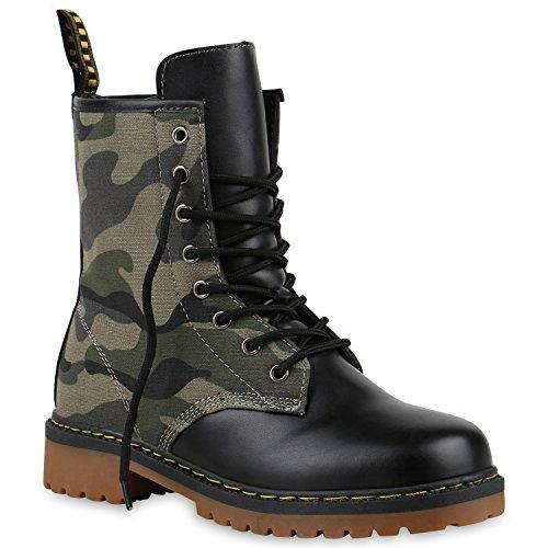 Derbe Damen Stiefeletten | Worker Boots Profilsohle| Camouflage Stiefel | Schnürschuhe Animal Print Camouflage