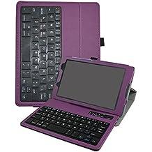 "Lenovo Tab3 A8-50 / Tab3 8 Bluetooth teclado Funda,Mama Mouth DETACHABLE Bluetooth teclado teclado (teclado QWERTY formato inglés) PU Cuero Con Soporte Funda Caso Case para 8"" Lenovo Tab 3 8 TB3-850F / TB3-850M Tablet 2016,Púrpura"