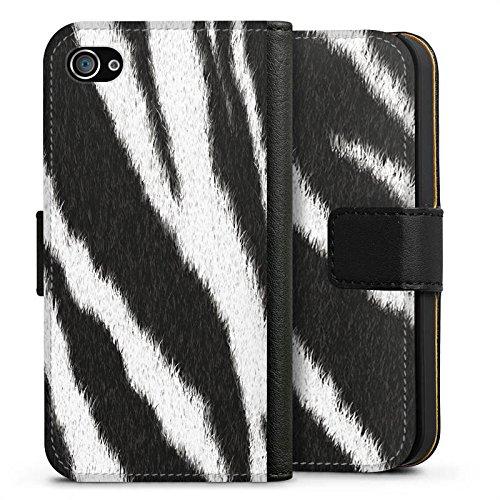 Apple iPhone 7 Plus Tasche Hülle Flip Case Zebra Fell Monochrom Sideflip Tasche schwarz
