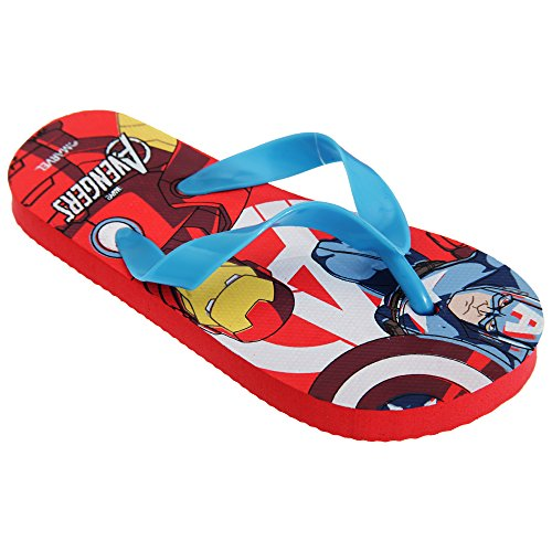 Marvel Avengers Childrens/Boys Superhero Design Toe Post Flip Flops (11-12 Child UK, 30-31 EU) (Red)