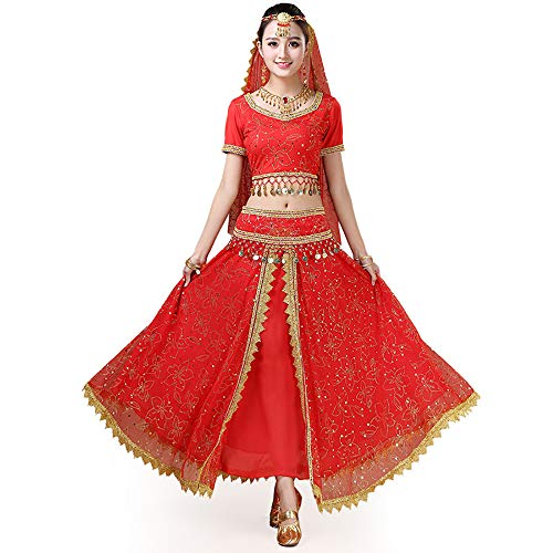 (BT-GIRL Damen Bauchtanz Kostüm - 7 Stück Kurze Ärmel Sequenziert Indischer Tanzsatz Professionel Performance-Kleidung,Red,M)
