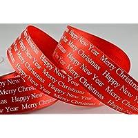 Auguri di Natale Rosso Poliestere raso 25mm x 1metro Lunghezza