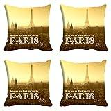meSleep, wenn in Paris Kissenbezug Set von 4PCS Beige Quadratisch Überwurf Wohnzimmer Sofa Kissen Fall 30,5cm 40,6cm 45,7cm 50,8cm 55,9cm Art Deco 16